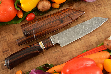 Feather Pattern Damascus Chef's Knife (Hakata Santoku) -- 6-1/2 in. -- with Desert Ironwood and Saya