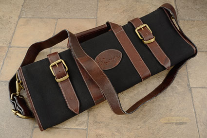 17 Slot Canvas Knife Bag with Leather Trim - Black (CK109)