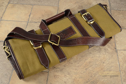 17 Slot Canvas Knife Bag with Leather Trim - Khaki (CK108)