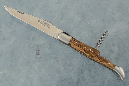 Laguiole Guilloché Picnic Knife with Corkscrew, Bocote