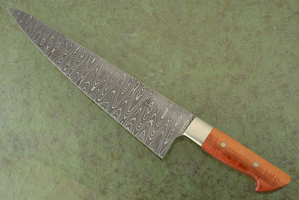 Damascus Chef's Knife (11-1/2 in) with Figured Pink Ivory Wood