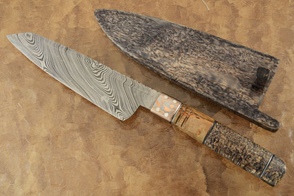 Damascus Chef's Knife - Santoku (7-1/8 in.) with Birch Wood