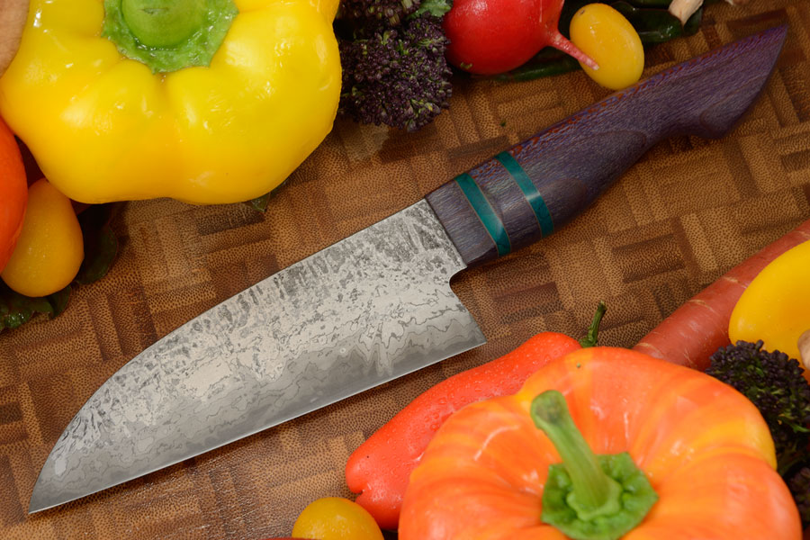 Damascus San Mai Chef's Knife - Santoku (5-1/4 in) with Purple Snakeskin Sycamore
