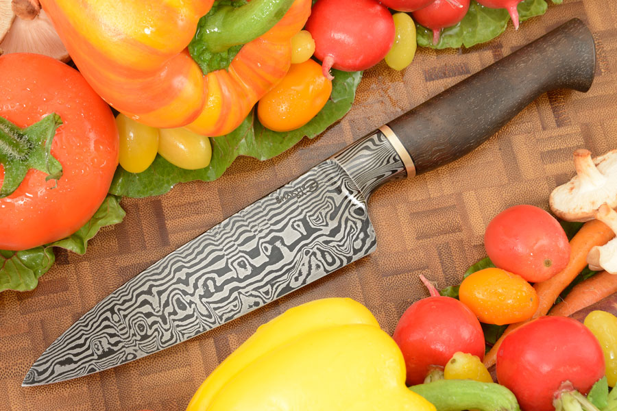 Integral Damascus Chef's Knife (5-1/2 in.) with Bastogne Walnut