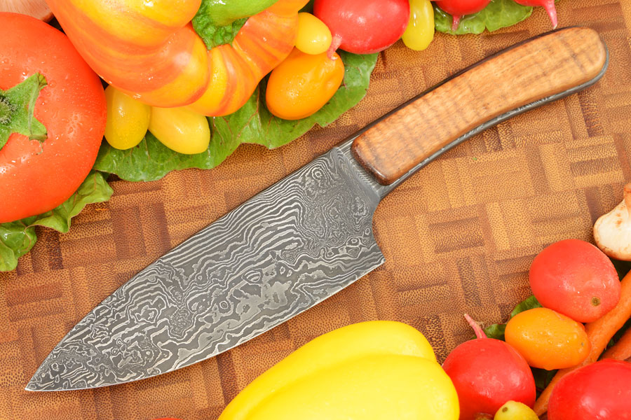Damascus Chef's Knife (5-1/4 in) with Curly Koa
